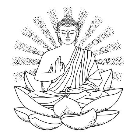 Buddha sitting on Lotus with beam of light Ilustração