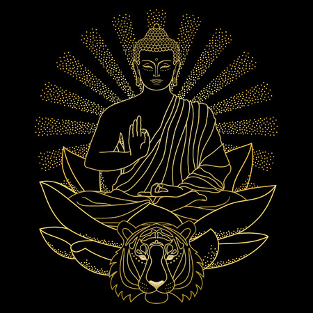Buddha sitting on Lotus with light and Tiger Stock Photo