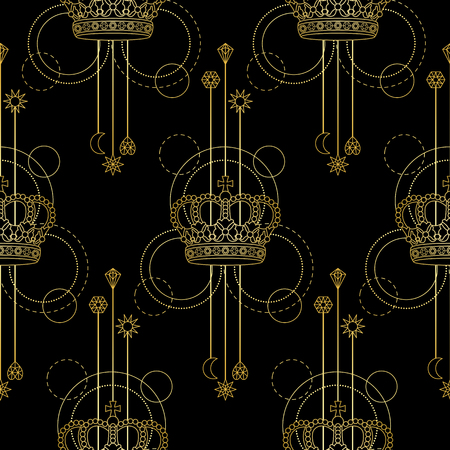 Gold Crown Seamless Pattern Imagens
