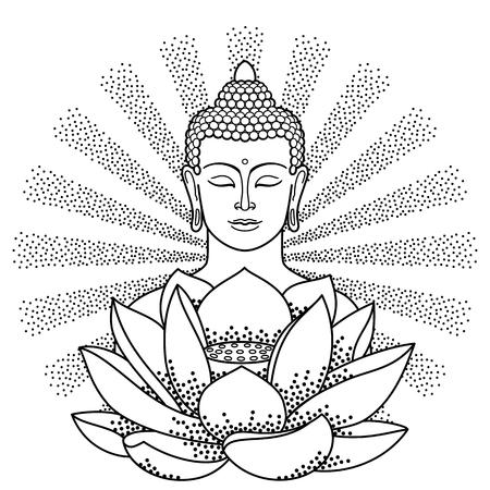 mantra: Buddha and Lotus with beam of light