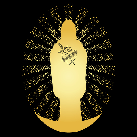 Gold Virgin Mary Silhouette