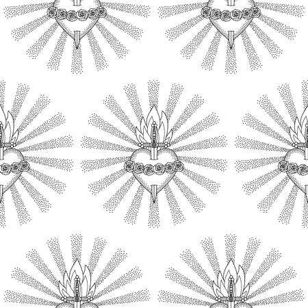 black maria: Immaculate Heart Virgin Mary Seamless Pattern Stock Photo