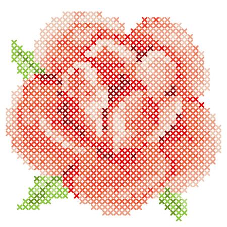 Cross Stitch Red Rose Illustration
