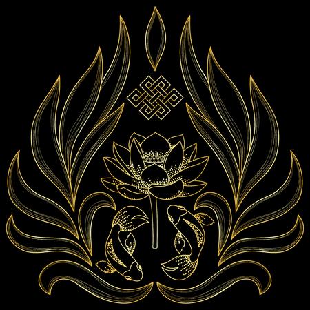 mantra: Gold Buddhism Symbols Illustration