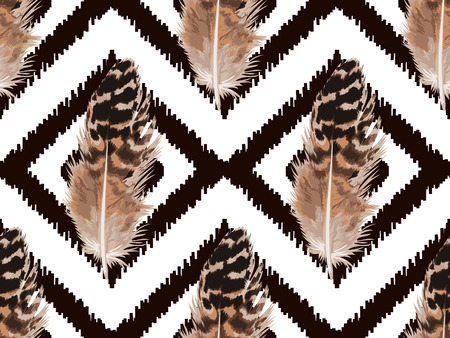 Feather Seamless Pattern on a white background