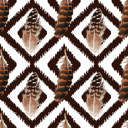 Feather Seamless Pattern on a brown background