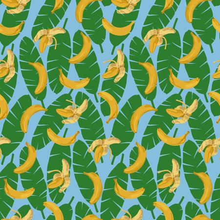 banana sheet: Bananas and Leaves Seamless Pattern