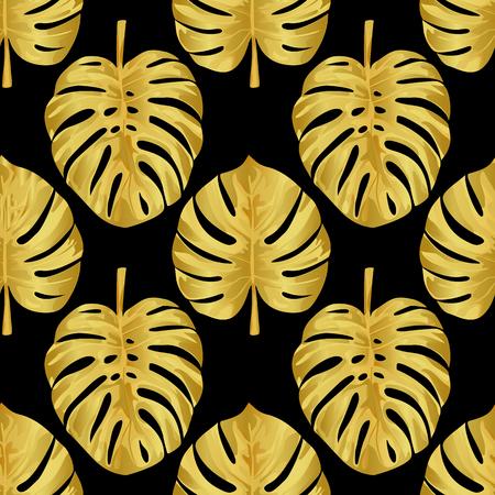 liana: Gold Monstera Seamless Pattern