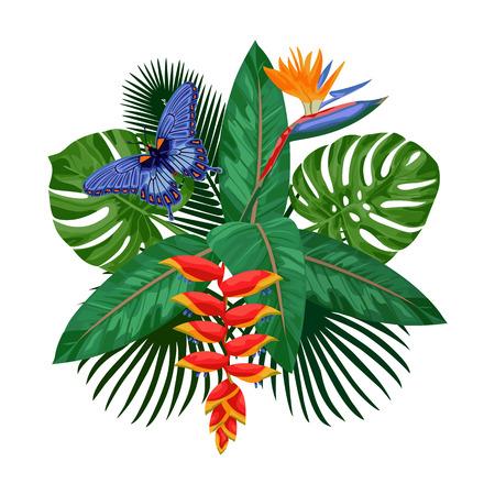 Modèle de carte postale de bouquet tropical