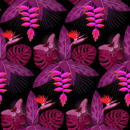 strelitzia: ornamental tropical Bouquet Seamless Pattern. Illustration
