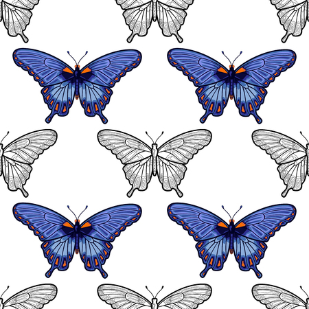 Blue and white butterfly Seamless Pattern.