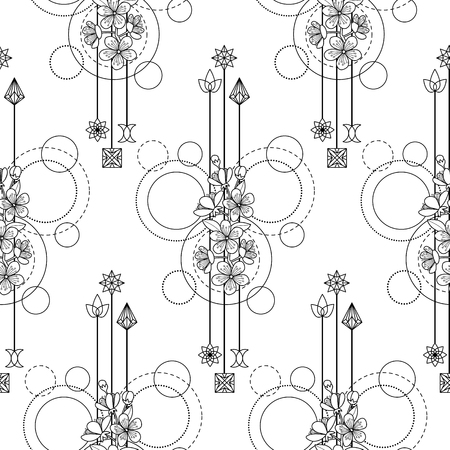 Cherry Flowers Seamless Pattern in sketched illustration. Ilustração