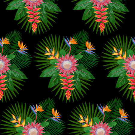 strelitzia: Tropical Seamless Pattern with Protea