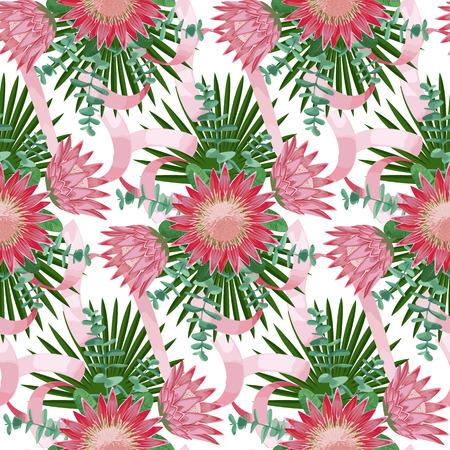 strelitzia: Seamless Pattern withTropical Wedding Bouquet Illustration
