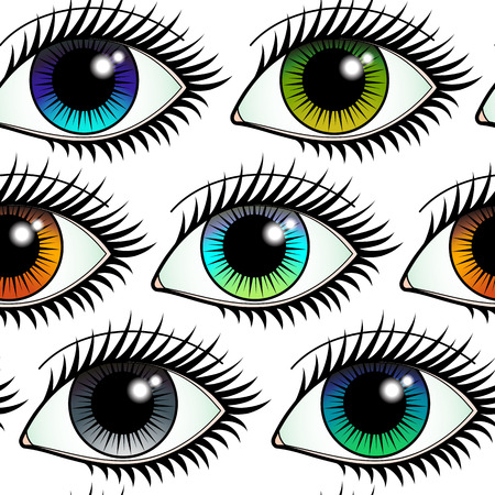 Eyes Colorful Seamless Pattern Illustration
