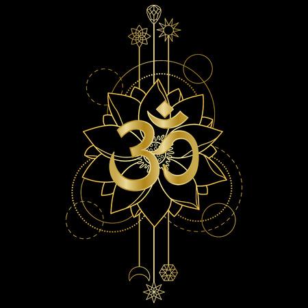 Gold Om and Lotus Ilustração