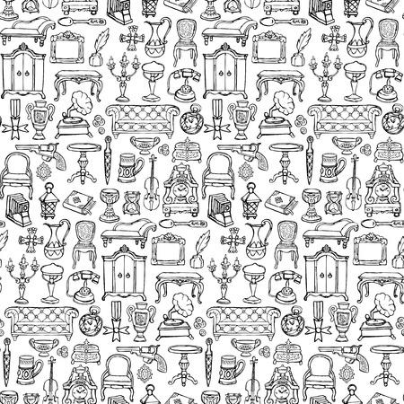 Antiques Doodle Seamless Pattern Ilustracja