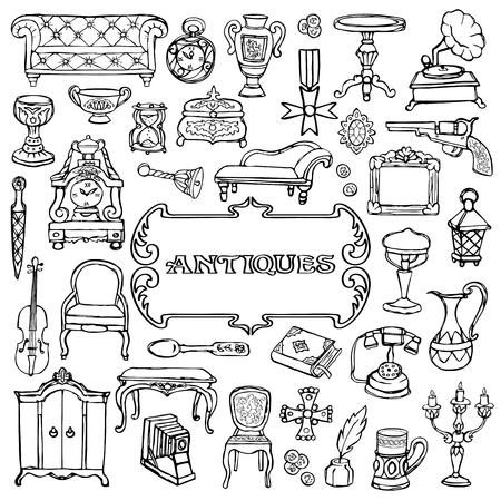 Antiques Doodle Set Illustration