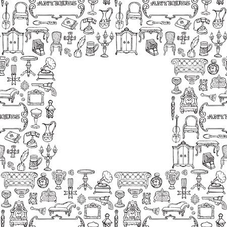 Antiquitäten doodle nahtlose Rahmen