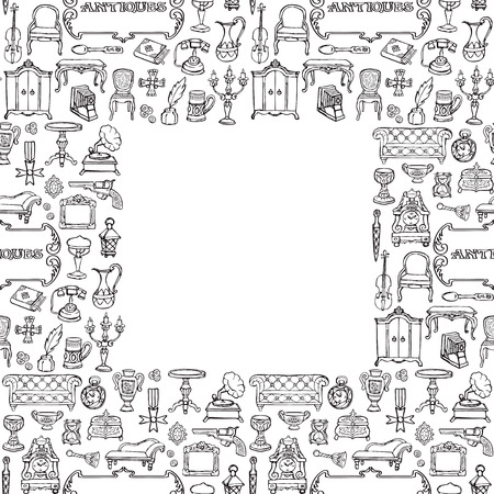 Antiques Doodle Seamless Frame
