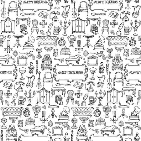 Antiques Doodle Seamless Pattern 일러스트