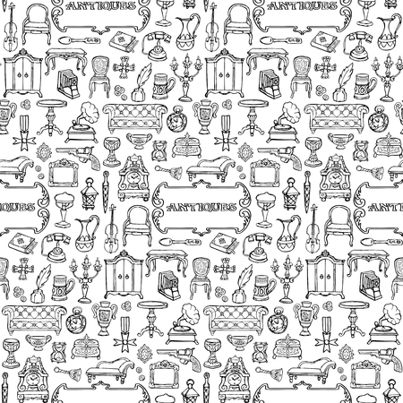 Antiques Doodle Seamless Pattern Vettoriali