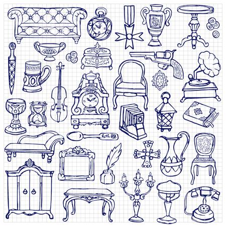 Antiek Krabbel Set Stock Illustratie