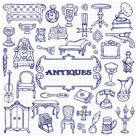 Antiques Doodle Set Фото со стока - 82568006