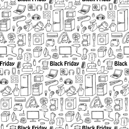 Black Friday household seamless pattern