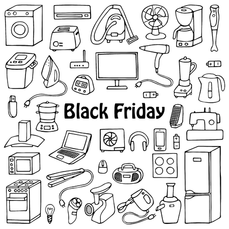 sewing machines: Black Friday household appliances hand drawn collection. Pattern of doodle equipment. Coloring page. Illustration