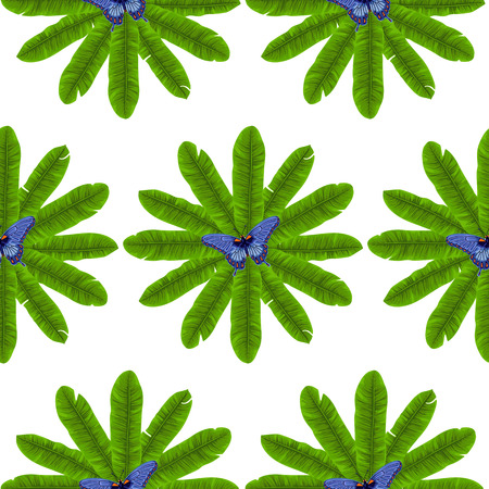 subtropical: Butterfly and Banana Leaves Seamless Pattern