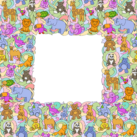 Animal Toys Seamless Frame Pattern Ilustração