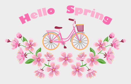Hello Spring banner with bike and cherry blossom embroidery pattern