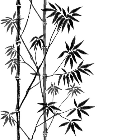 Illustration of a bamboo tree in embroidery design