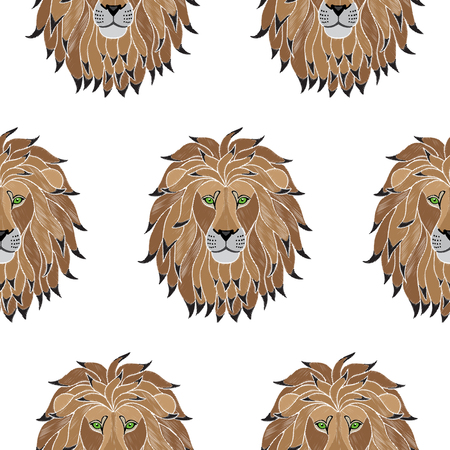 Embroidery Lion Seamless Pattern