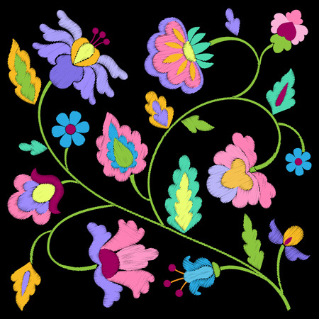 Fantasy Flowers Embroidery Pattern Stock Vector - 84736744