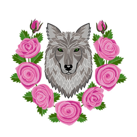 Wolf and Roses Embroidery Illustration