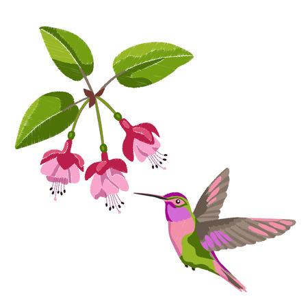 Fuchsia and hummingbird embroidery
