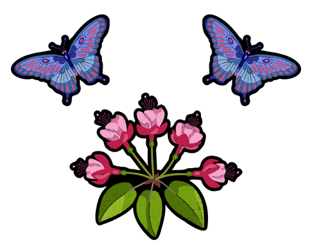 butterfly isolated: Fuchsia and butterfleis embroidery composition Illustration