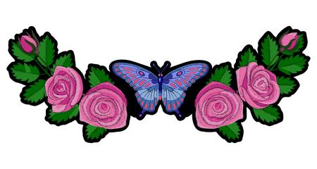 장미와 나비 자수 패치