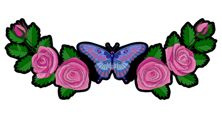 Roses and Butterfly Embroidery Patch
