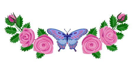 Roses and Butterfly Embroidery Composition Illustration