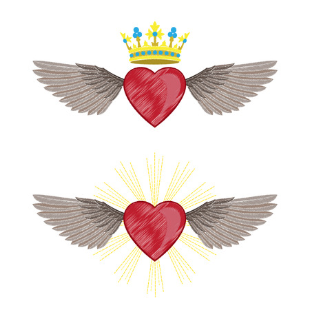 Heart and Wings Embroidery Set Illustration