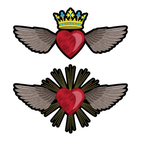 Herz und Flügel Stickerei Patch Set Standard-Bild - 84855600