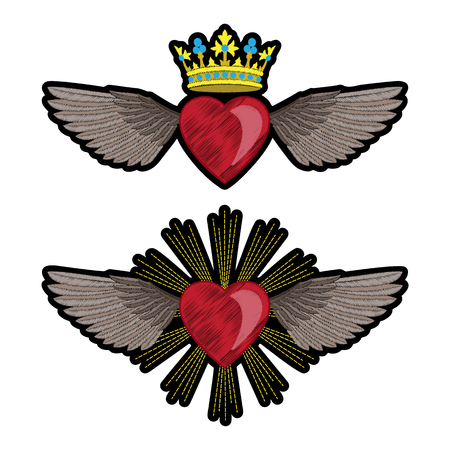 Heart and Wings Embroidery Patch Set Illustration