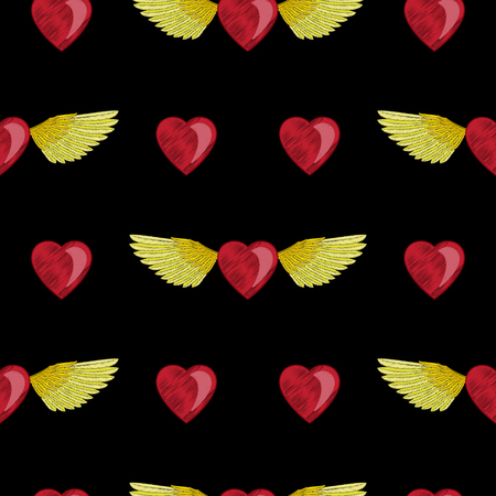 Heart and Wings Embroidery Seamless Pattern Illustration