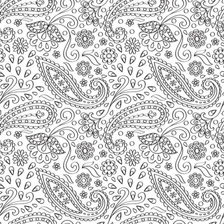 Paisley Seamless Pattern Çizim