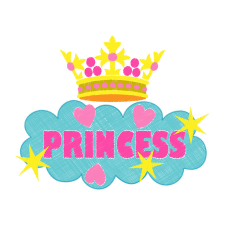 Princess fashion embroidery. Colorful needlework isolated on white background. Applique for denim or clothes.