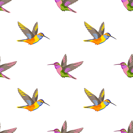 Hummingbird Embroidery Seamless Pattern Royalty Free Cliparts