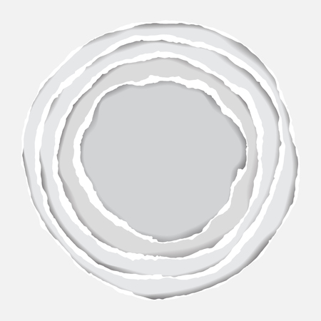 Realistic Ripped Paper Circle Elements